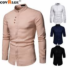 <b>2019 Covrlge Brand New</b> Men'S Spring Shirts Flax Henry Collar ...