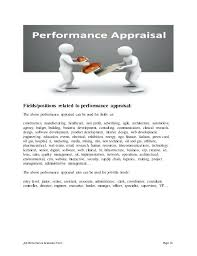 Leadership Performance Appraisal Phrases For Sample Self Skills ...
