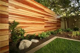 Rustic backyards modern horizontal wood fence with landscaping
