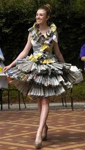 Recycled Designer Apparel Newspaper Dress Newspaper Dress Recycled Dress Fashion