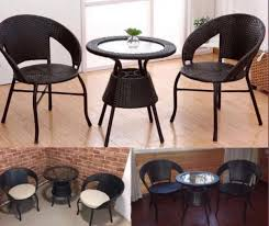 rattan coffee glass top table with 4
