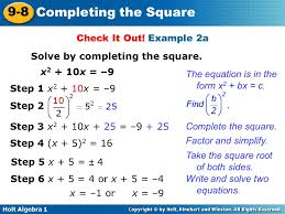example 2a solve by completing the square x2 10x
