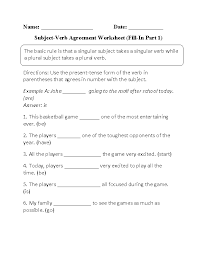 Subject And Verb Agreement Anchor Chart Verbs Worksheets Subject Verb Agreement Worksheets