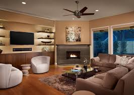 wall mount a living room contemporary with built in lighting corner fireplace