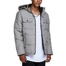 Light Grey Mens Parka Jack Jones Core Will Padded Jacket Light Grey Melange
