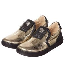 young versace boys metallic gold black leather shoes