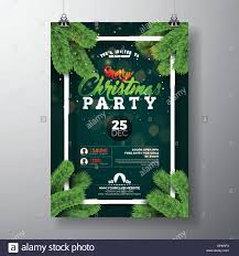 Green Party Flyer Vector Christmas Party Flyer Design With Holiday Typography