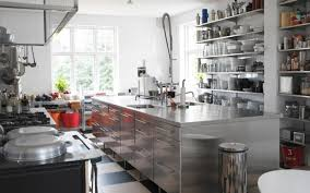cool kitchen with stainless steel shelves