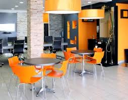 creative office. modern office space with bright orange furniture creative