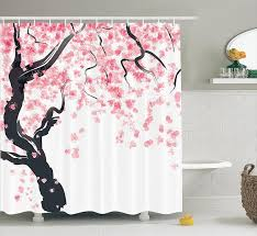 com house decor shower curtain set by ambesonne anese cherry tree blossom in watercolor painting effect oriental stylized art deco