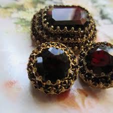 vine czech 1930s tiered brooch and clip on earrings garnet re