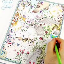 cute kawaii cartoon colorful jetoy cat coloring book for children antistress graffiti painting drawing art colouring books in books from office