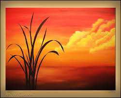 easy acrylic painting on canvas sunset palm landscape seascape abstract art paintings