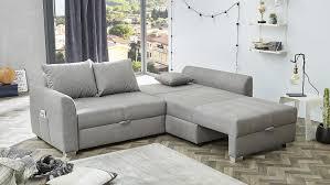 Wohnlandschaft Boomer Ecksofa Sofa In Grau Mit Bettfunktion