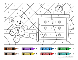 Small Picture Color By Number Worksheets For Kindergarten 18626 plaaco