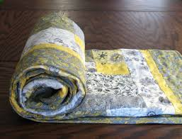 Yellow and Gray Throw Quilt, 46