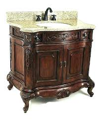 small ornate bathroom vanity gray with white mirror contemporary