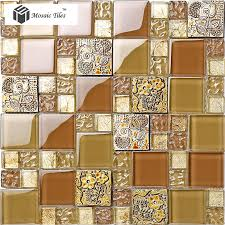 tst crystal glass tile golden amber tawny 3d flower sculpture glass tiles for wall deco
