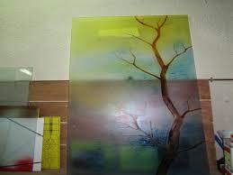 painted glass door with 3d tree design
