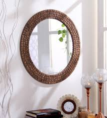engineered wood round wall mirror in