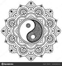 Vektor Henna Tatoo Mandala Dekorative Yin Yang Symbol Mehndi Stil