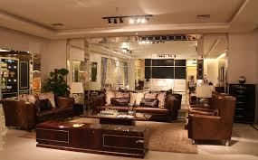 Upscale Living Room Furniture Elegant Brown Leather Sofas With Spotlights Ceiling Decors In Open