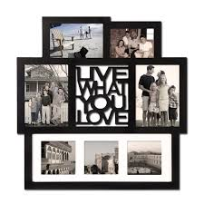 adeco black wood wall hanging picture photo frame collage live what you love