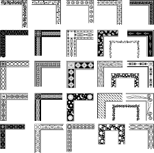 black and white pattern frame corners 03 vector
