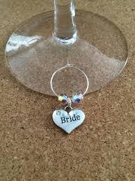 sparkling bride wine glass charm holder swarovski round crystals choose color wedding party
