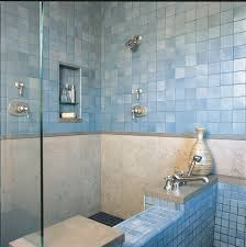 Soaking tub and tile shower traditional-bathroom