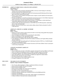 Assistant Athletic Resume Samples | Velvet Jobs