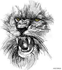 Fotobehang Sketch Of Lion Head Nikkel Art