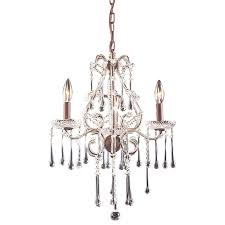 portfolio 17 in 3 light rust crystal standard chandelier