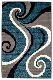 summit h32 blue swirl abstract area rug