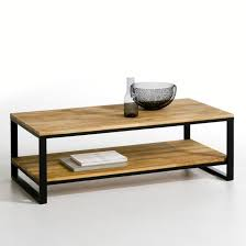 hiba solid joined oak and steel 2 tier coffee table la redoute interieurs image 0