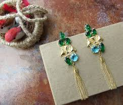 chandelier earrings with emerald green crystals