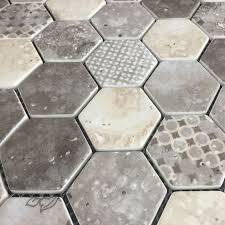 bruge hexagonal inkjet enviro glass mosaic sheet 280x324mm