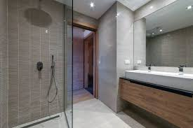 cool bathrooms. Wood Vanity With Double Sink And Walk In Shower Cool Bathrooms Ideas
