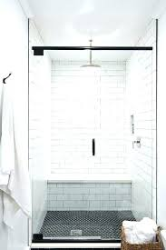 ready to tile shower base shower bench tile white shower walls with black hex shower floor