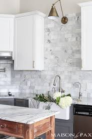 White cabinets with marble countertops Blue White And Gray Cabinets In Modern Farmhouse Kitchen Maison De Pax Maison De Pax Gray And White And Marble Kitchen Reveal Maison De Pax