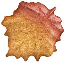 hand painted large gold umber maple leaf shaped plate 16 5 lx14 w traditional dinner plates by traders and company