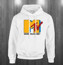 MTV Retro Logo Hoodie Music TV White Large for sale online