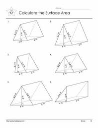 Triangular Prism Area 1 worksheet surface area of prisms free worksheets library on area problems worksheet