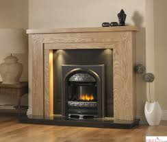 pureglow hanley oak fireplace suite surround backpanel and hearth