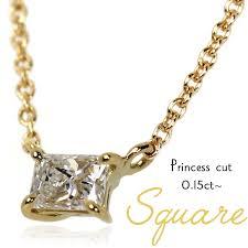 k18 gold x 0 15 ct princess diamond square square pendant necklace yg princess cut