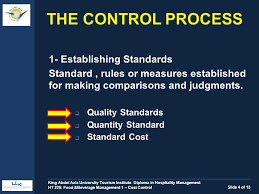 food beverage management i cost control ht the control  1 establishing standards standard rules or measures established for making comparisons and judgments