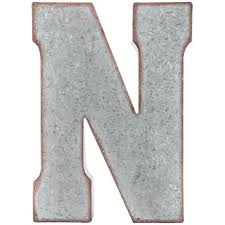 galvanized metal letter wall decor n