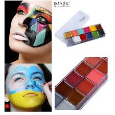 painting flash tattoo imagic brand 12 colors face paint palette makeup temporary tatoos glowing