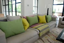 Living Room:Bright Patterned Cushions Dark Grey Sofa Pillows Yellow Scatter  Cushions Grey Sofa With
