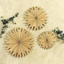 gold teak sunburst plaques